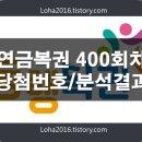연금복권400회당첨번호 및 분석결과