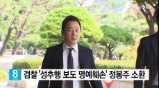 검찰, '성추행 보도 명예훼손' 정봉주 전 의원 소환 조사